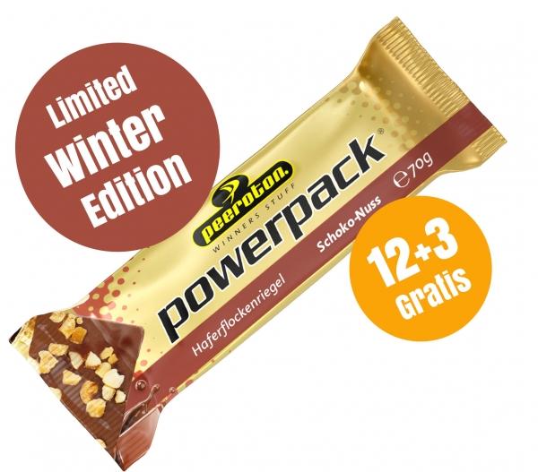 POWERPACK Riegel 70g Karton 12+3 Gratis- Schoko Nuss