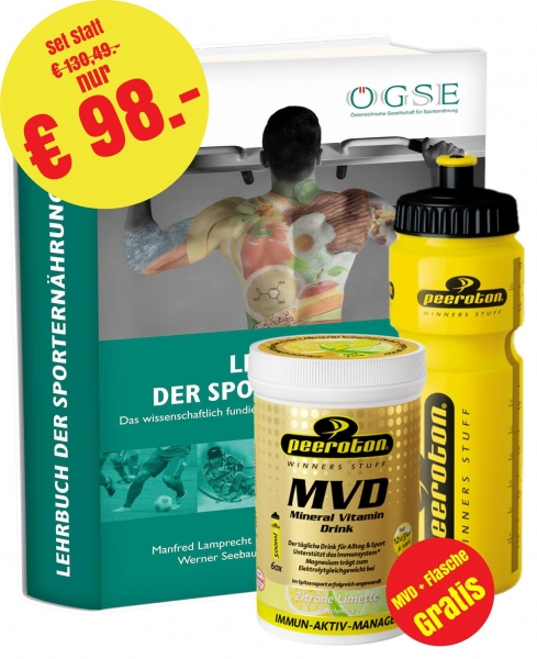 AKTION: Lehrbuch der Sporternährung Paket mit MVD und Flasche